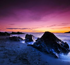 The beach (mogew) Tags: sunset sea beach water beautiful rock evening shorline nightfall bestcapturesaoi onlythebestofnature