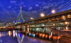 ZakimBridge (krazykevcool) Tags: park reflection boston skyline suspension barge hdr zakim paulrevere zakimbridge tdgarden kevincool nikonflickraward