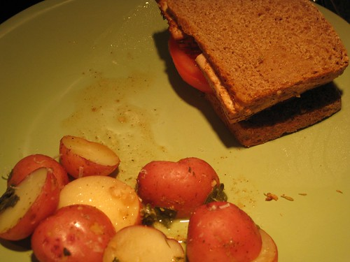 Tofu sandwiches, potatoes