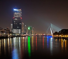 Koningshaven Rotterdam (DolliaSH) Tags: city longexposure bridge light urban haven holland color water colors architecture night canon reflections river puente photography lights noche photo rotterdam topf50 europe foto nightshot photos nacht harbour nederland thenetherlands illuminated ponte most le pont brug kpn maas brcke nuit kopvanzuid notte stad erasmusbrug noordereiland noch zuidholl