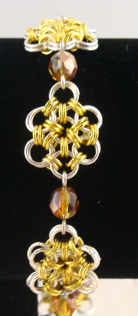 Silver and Gold Oriental 6-on-1 Chainmaille Flower Bracelet