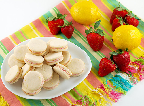 Strawberry Filled Lemon Sandwich Cookies