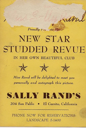 Back of a souvenir card from Sally Rands Club in El Cerrito.