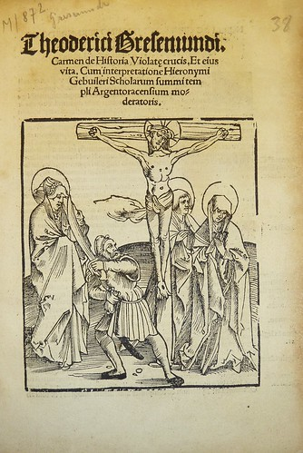Woodcut illustration of the legend of the desecration of a crucifix and accompanying saints (here, St. Mary Magdalen, St. John and the Virgin Mary) in Mainz by the actor Schelkropf