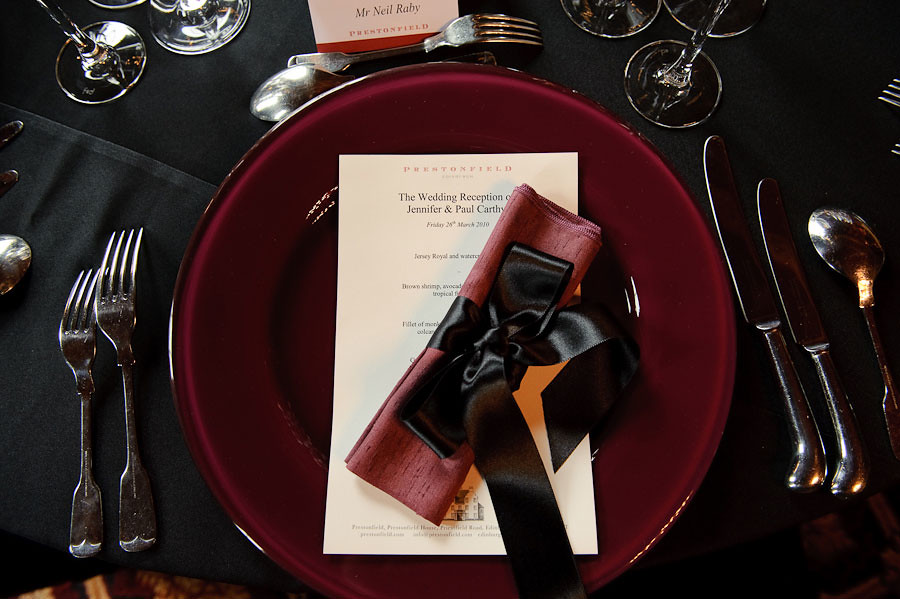 88 Events designs a Wedding at Western House Hotel - Damson Charger Plate with Plum Faux Silk Napkin and Black Satin Ribbon