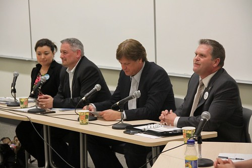 Alberta Party leadership candidates Tammy Maloney, Lee Easton, Randy Royer, and Glenn Taylor at MacEwan University.