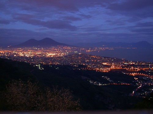 Evening view of Naples from Camaldoli