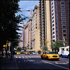 5th Avenue (AP_Director) Tags: new york city sky abstract building film manhattan vibrant cab taxi side slide east hasselblad upper alexi medium format avenue 5th provia 120mm 500cm reversal 400x papalexopoulos fujiinkodakgroup