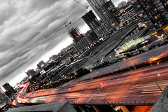 Gardiner (Morningdew Photography) Tags: light sunset red sky white toronto ontario canada west building cars car night clouds canon grey highway balcony gray cranes condo gardiner ef24105l t1i