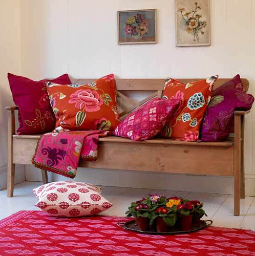 Pink and Orange - Interior Design Patterned living room via housetohome