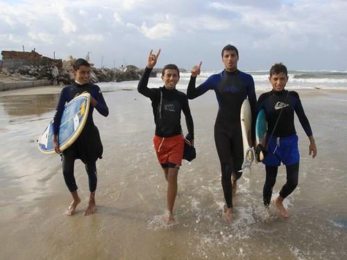 Surfers in Gaza