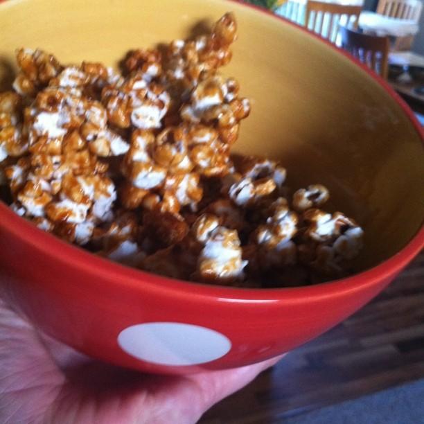 Homemade PB caramel corn!