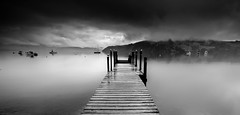 Akaroa Harbour (Matthew Post) Tags: newzealand christchurch blackandwhite seascape clouds landscape mono boat harbour canterbury wharf southisland akaroa