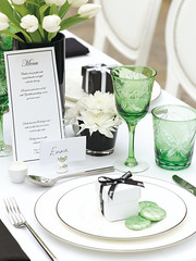 Table Setting Inspiration (Confetti.co.uk) Tags: lighting flowers wedding decorations summer white black green butterfly garden table candle butterflies chocolates reception tables vase ribbon weddings emerald tablesetting tealight confectionery votive settings mints placecard trims favours favour weddingtables placecardholder weddinginspiration favourbox