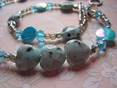 Kiwi jasper and crystal necklace (designbysunzeri) Tags: poeticnotionsjewelry beadednecklace kiwijaspernecklace jaspernecklace heartnecklace crystalnecklace motherofpearlnecklace beadedjewelry