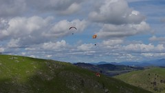 Renee, Ben and Ian scratching hard in a lull (overflow50) Tags: paragliding paraglider canberra spring springhill sky clouds