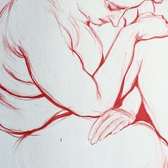 Red ink figure drawing. @inktober #inktober (Dorian Vallejo) Tags: art fine drawing figure mixed media drawings oil painting dorian vallejo