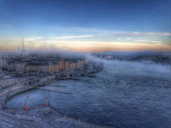 Old photography by me from Slussen and the view over Gamla Stan (imtiazqr) Tags: fog stockholm slussen sea water morning sweden europe scandinavia capital autumn cold