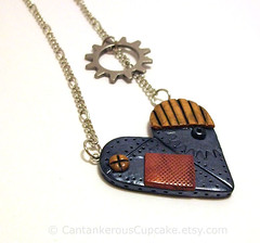 Industrial Heart Necklace (Cantankerous Cupcake) Tags: necklace industrial heart handmade polymerclay steampunk