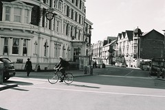 City Road Chester (8mm & Other Stuff) Tags: city urban blackandwhite canonav1 film monochrome canon cheshire kodak chester 35mmfilm cityroad
