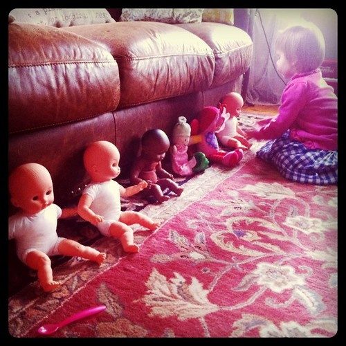 Feeding the baby dolls