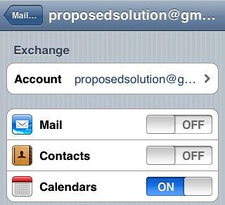 Toggle Mail OFF, Calendar ON