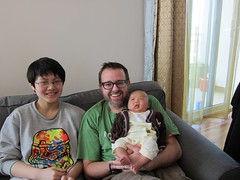 Two happy peeps and a not so happy baby