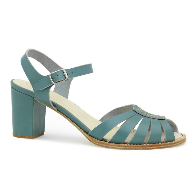 013 High Heeled Leather Sandal Turquoise