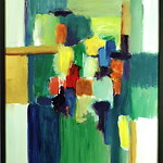 "<b>Phthalo Variations</b><br/> Richard Scherubel (LC '63) (Acrylic)<a href=""http://farm6.static.flickr.com/5304/5571202485_23f1c56865_o.jpg"" title=""High res"">∝</a>"
