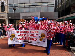 Where's Wally Dublin flash mob #2 (turgidson) Tags: world street ireland dublin digital studio ed four lumix championship raw angle martin g flash crowd wide performance pedestrian wideangle olympus surfing m panasonic mob developer micro record pro g1 mm wheres performers wally crowdsurfing fundraiser waldo zuiko graftonstreet attempt dmc flashmob grafton thirds converter recruiting whereswally whereswaldo handford 2011 m43 silkypix f4056 50club streetperformanceworldchampionship spwc martinhandford 41412 lumixg p1180390 microfourthirds 918mm panasoniclumixdmcg1 panasonicg1 olympusmzuikodigitaled918mmf4056 olympusmzuikodigitaled918mmf4056mm silkypixdeveloperstudiopro41412 streetperformanceworldchampionship2011 spwc2011
