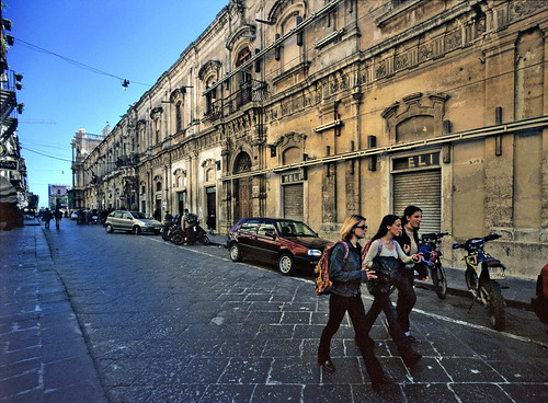 After school - girls in the baroque streets of Noto, Sicily - Copyright by Martin Liebermann