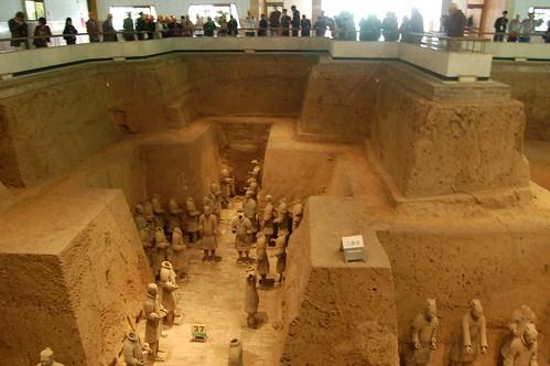 Die Terrakotta Krieger sind sechs Meter unter der Oberfläche, die Zuschauer sehen von oben herab