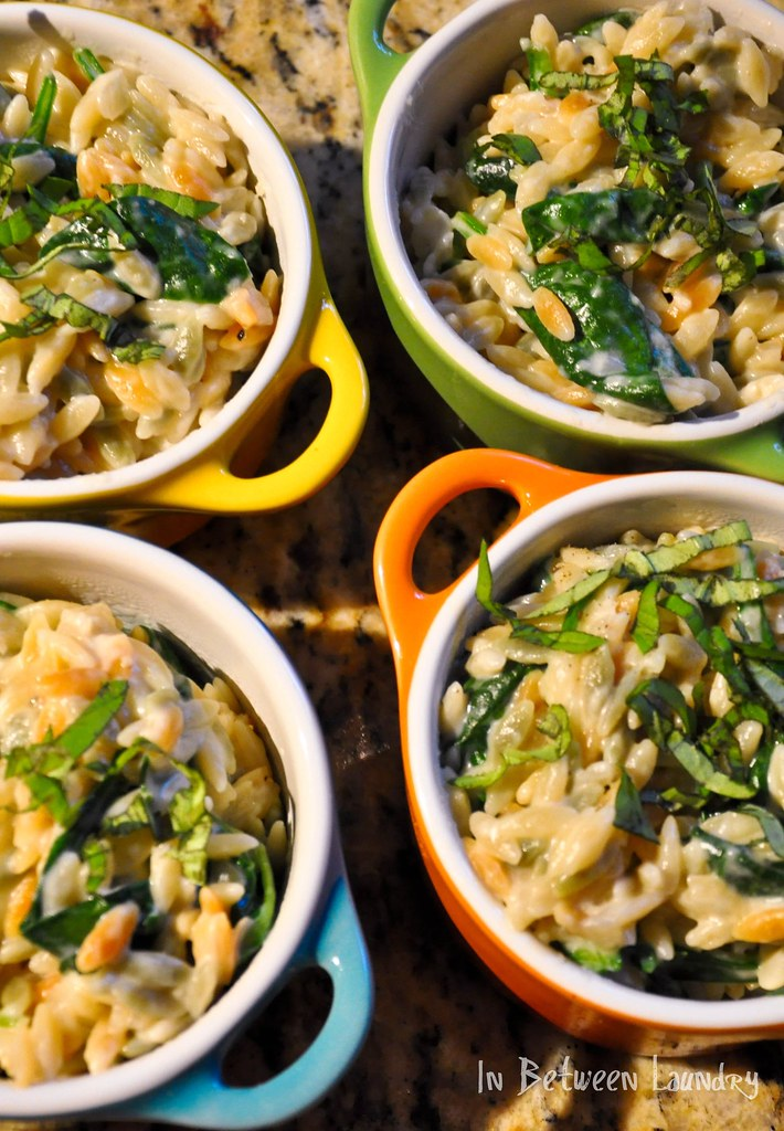 creamy parmesan orzo with spinach