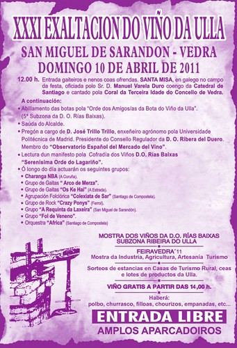 Vedra 2011 - Exaltación do Viño en San Miguel de Sarandón - programa
