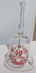 Vintage Viking Glass 40th Anniversary Bell (RayvenVintage) Tags: red usa home glass writing vintage bell anniversary decorative clear gift 40 collectible viking decor collectibles