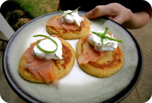 cornmeal blinis, smoked salmon, sour cream