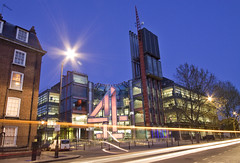 LONDON Channel 4 HQ 1 (mcmillan.michael) Tags: light colour london glass night reflections photography lights long exposure time head steel 4 victoria national richard rogers quarters channel