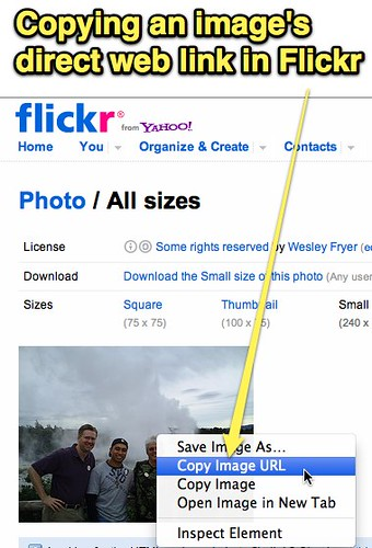Copying an image's direct web link in Flickr