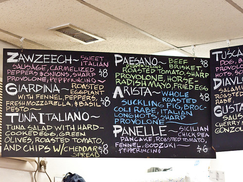 Paesano's partial menu