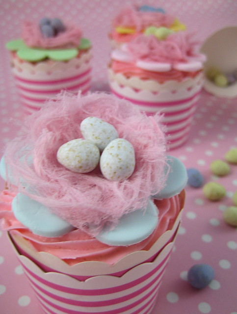 Easter Fairy Floss nest cupcakes