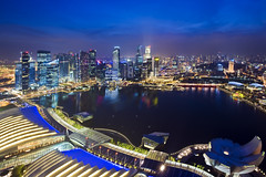Singapore (hock how & siew peng) Tags: city blue skyline marina ir bay nikon singapore cityscape dusk casino hour esplanade hh bluehour fullerton rafflesplace mbs ntuc stanchart skypark standardchartered uob integratedresort maybank 2011 1635mm oub skycrappers marinabaysands d700 dsc0748 hockhow hhsp hockhowsiewpeng marinabayfinancialcentre wwwhockhowcom gettyimagessingaporeq2