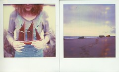and the sky was made of amethyst (milkysoldier) Tags: sea polaroid sx70 boat diptych hole violet amethyst virginie timezero