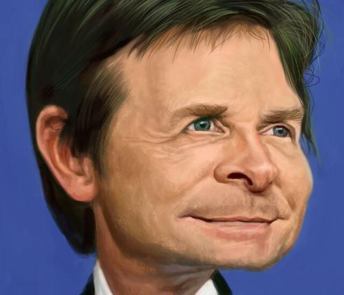 digital caricature of Michael J Fox - 4