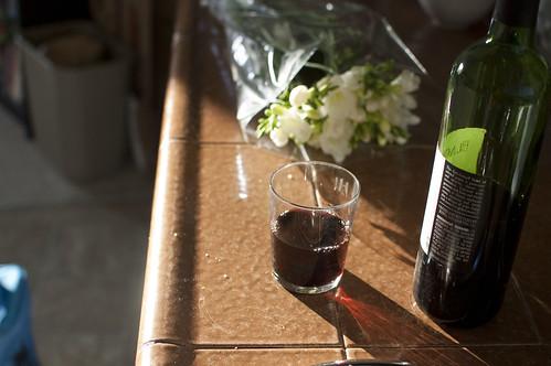 flowers, wine