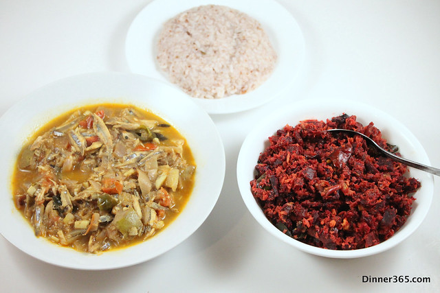 Day 112 - Anchovy Mango Curry, Beetroot Thoran and Red Rice