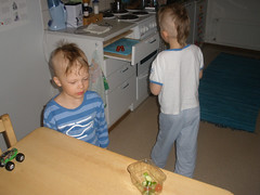 Little chefs were making a salad..