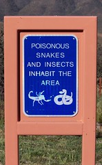 Poisonous snakes and insects inhabit the area (Will S.) Tags: arizona usa signs mountains sign cattle hills bumblebee mypics restarea valleys sunsetpoint bradshawmountains ranches ranchland wikanyacha