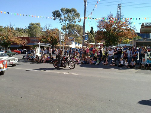 Ned Kelly on a Harley Davidson at the Maldon Easter Parade
