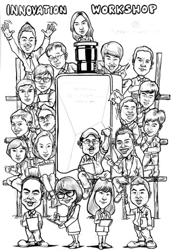 Group caricatures for Pernod Ricard Korea - pen & brush