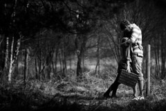 Lean on me.. (alexandrawysocki) Tags: boy blackandwhite love girl forest togetherness woods couple picnic shoot together clutch lean dependence picnicbasket